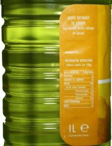 Ingredientes del aceite de girasol Hacendado sin aditivos