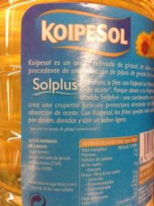 Ingredientes de aceite de girasol Koipesol con varios aditivos