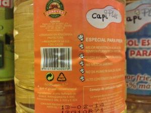Ingredientes del aceite de girasol Capiplus con aditivos