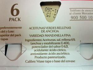 Ingredientes aceitunas con anchoas hacendado con E-621