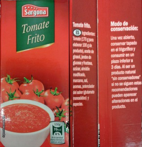 Tomate frito Sargona de Lidl contiene potenciador del sabor
