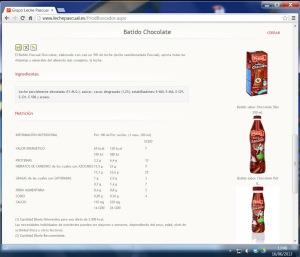 Página web de Pascual con información errónea